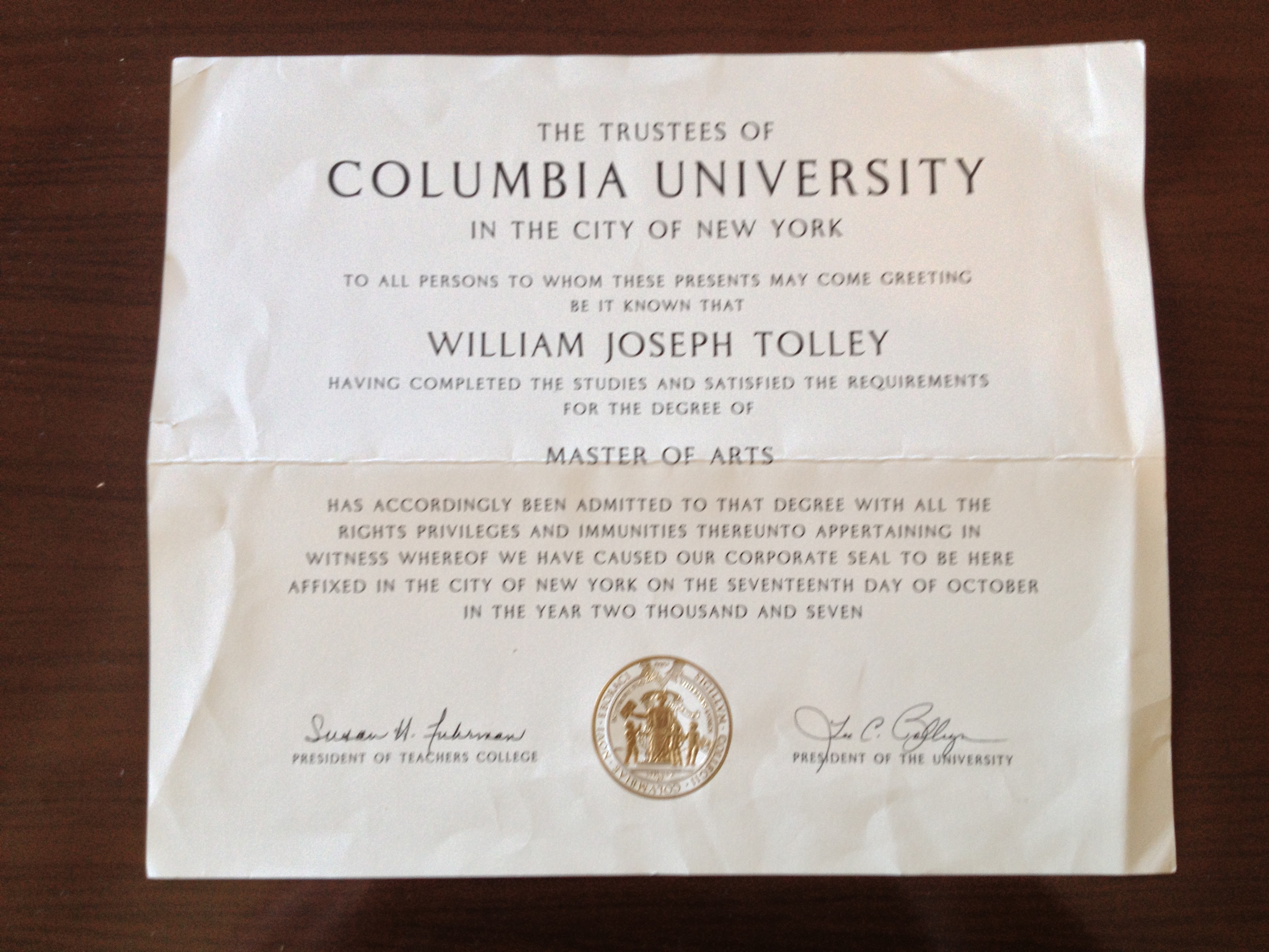 columbia diploma  u2013 process of living