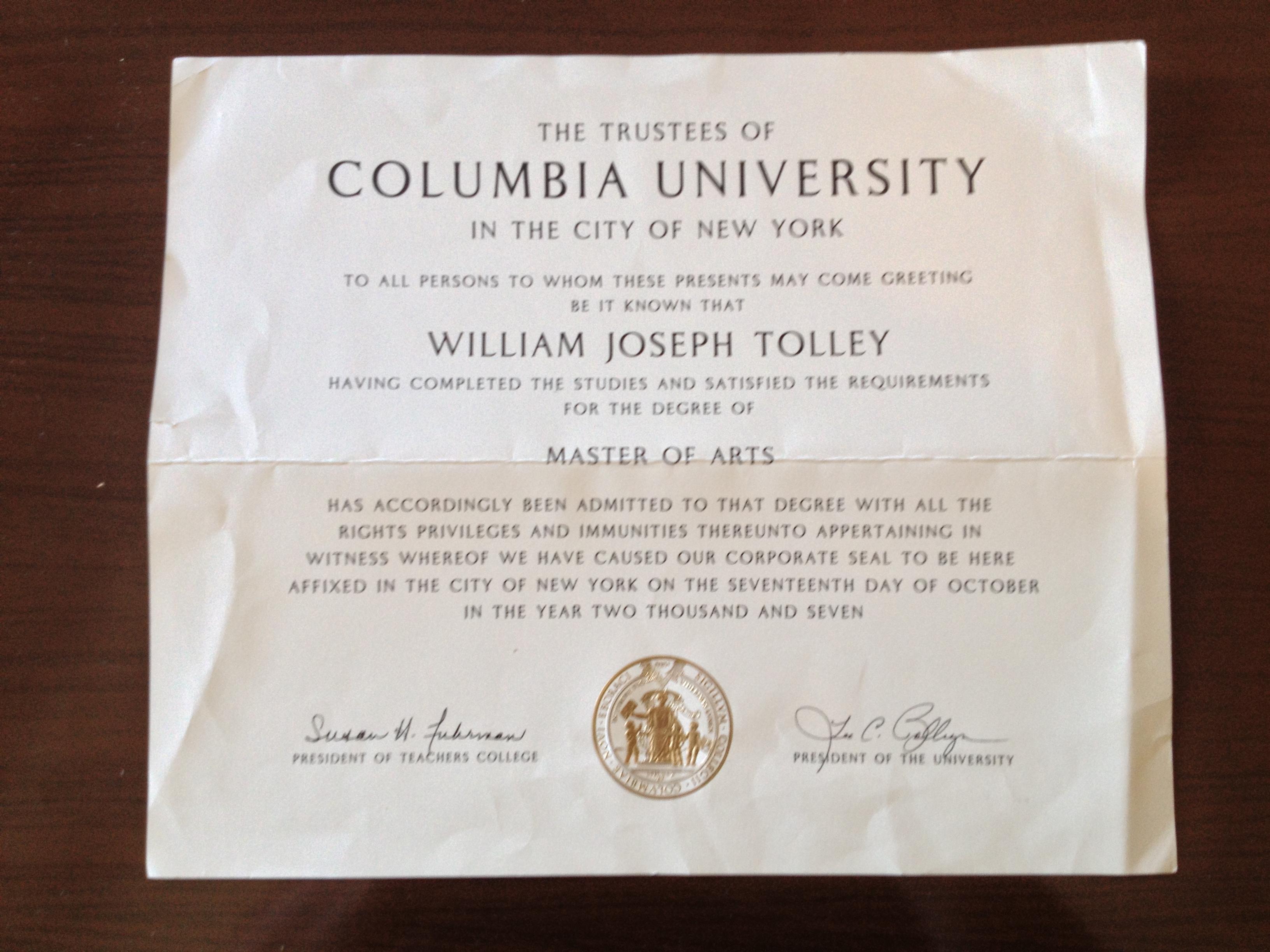 columbia diploma  u2013 process of living